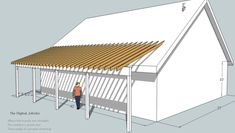 Tak over veranda: shed roof deck - decks., Learn build shed style porch roof deck . Building A Porch, Building A House, Shed Plans, House Plans, Roof Design, House Design, Lean To Roof, Curved Pergola, Covered Pergola