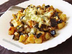 Salteado gratinado de berenjenas y patatas
