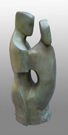 Bronze resin 27th Wedding Anniversary Gift or Present sculpture by artist John Brown titled: 'Constancy (abstract figurative bronze resin statue)'