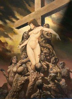 Manara Milo, Bernie Wrightson, Statue, Comics, Painting, Windsor, Studio, Art, Art Background