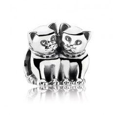 Pandora 'Kattenbedel' 791119, leuke zilveren pandora bedel met twee katten, leuk cadeau voor de echte kattenliefhebber