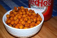 Buffalo Ranch Roasted Chickpeas by Kid Tested Firefighter Approved Vegan Appetizers, Vegan Snacks, Appetizer Recipes, Healthy Snacks, Healthy Eating, Savory Snacks, Lunch Snacks, Vegan Sweets, Vegan Food