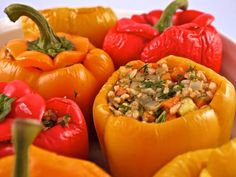 Greek Rice Stuffed Peppers are such a fun and colorful dinner! #skinnyms #cleaneating #dinner #ideas