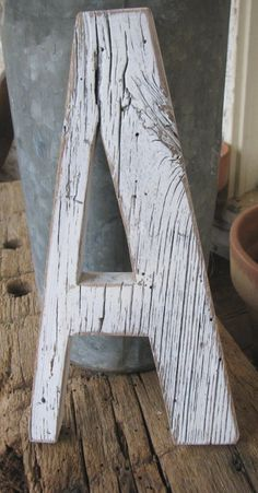 Barn Wood Letter A Painted Distressed White -Cottage Chic Style. $35.00, via Etsy.