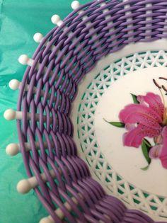 Kitsch Purple Lily Bread Basket /Bowl Greece Retro