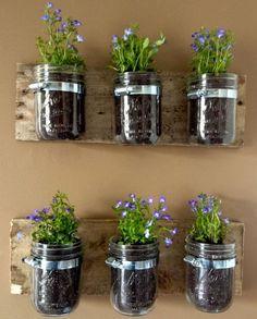 メイソンジャーは壁掛けの植木鉢にも! 板にホースクランプという金具を固定し、そこにジャーをはめています。植物ではなく小物の壁掛け収納にも使えるアイディアです。