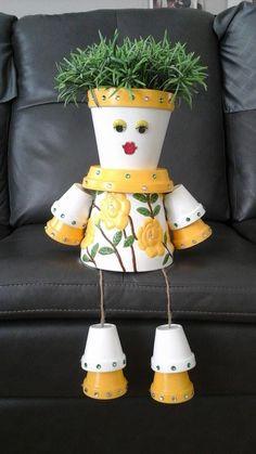 Yellow Floral Pot GIrl