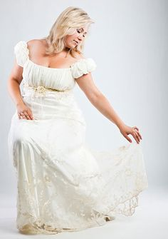 Plus-size brides aren't stuck with A-line dresses or full-skirted ball gowns. A simple sheath can flatter the figure when it's made from quality materials that skim over the body instead of clinging to it. Explore our beautiful plus-size bride album. Plus Size Brides, Plus Size Wedding, Bridal Gowns, Wedding Gowns, Bride Pictures, Curvy Bride, Wedding Beauty, Dream Wedding, Looks Cool