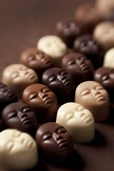 **DeBrand Chocolatier's Faces of The World chocolates. AWESOME IDEA! YUMMMM!!!