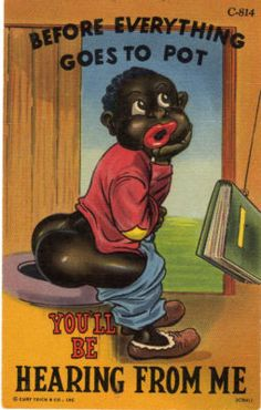 1940's Comic Black Americana Postcard