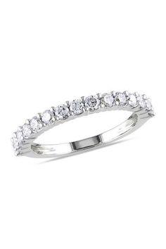 14K White Gold Diamond Eternity Ring - 0.75 ctw