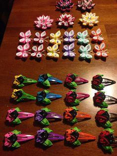 Kanzashi Ladybugs Hair Clips set by KyutiPatootees on Etsy