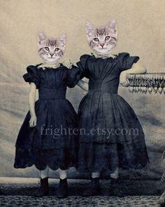 Cat Art Sister Art Kitten Girls Cute Animal Print Gray by frighten