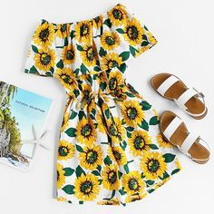 Shop Flounce Layered Neckline Sunflower Print Random Drawstring Romper at ROMWE, discover more fashion styles online. Summer Fashion Outfits, Cute Summer Outfits, Cute Casual Outfits, Outfits For Teens, Casual Dresses, Summer Dresses, Dress Fashion, Mode Outfits, Girl Outfits