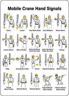 Crane Hand signals are very crucial for safe and more efficient crane operations at any work place.All types of mobile crane and tower crane signals approved by OSHA are explained in detail which are helpful for signalman and crane operators. Health And Safety Poster, Safety Posters, Mechanical Engineering, Civil Engineering, Lifting Safety, Safety Slogans, Firefighter Training, Construction Safety, Crane Construction