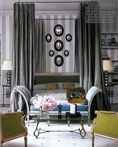 a vertical stripe can visually add height to a room
