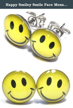 Happy Smiley Smile Face Mens Womens Unisex Stainless Steel Stud Earrings. One pair of stylish stainless steel stud earrings. Butterfly earrings backs. 10mm Diameter.