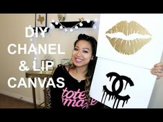 DIY Room Inspiration Chanel & Gold Lips Canvas Tutorial - YouTube