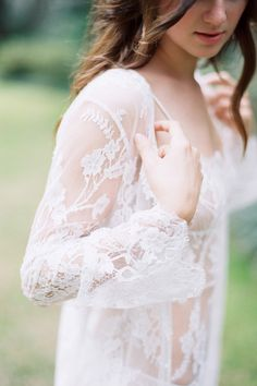 Juliet French lace long robe coat cover up in Ivory - style 218 | Girlandaseriousdream | Bridal robes, cover ups and bridesmaids silk robes