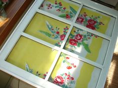 vintage tablecloth repurposed | vintage tablecloth and old window repurposed into a table