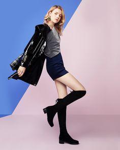 Cizme peste genunchi cu toc de 4.5 cm, din piele elastica stretch suede. Comode si elegante Leather Skirt, Skirts, Boots, Fashion, Crotch Boots, Moda, Leather Skirts, Fashion Styles, Skirt