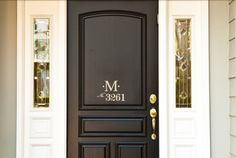 Monogram Door Decal with House Number by WelcomingWalls on Etsy https://www.etsy.com/listing/90446274/monogram-door-decal-with-house-number