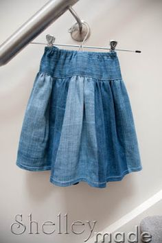 Shelley Made: Tutorial - Upcycle Jeans to Twirly Skirt. (This tutorial is for a little girl, but there is no reason that an adult size skirt cannot be made using old denim jeans. Love this idea.)
