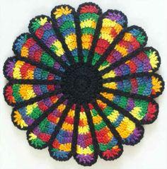 http://www.bestfreecrochet.com/2011/01/07/cathedral-window-potholder-free-crochet-pattern/