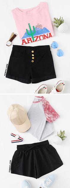 black shorts from romwe.com