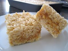 Caramel Crème Filled Rice Krispie Treats - Soft, Gooey Caramel in the Middle of Krispie Bars - Insanely Good & Easy to make with Just 5 Ingredients: Rice Krispie Cereal, Marshmallows, Butter, Sweetened Condensed Milk & Kraft Caramels