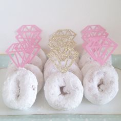 12 Diamond cupcake or Donut toppers!  This listing has 12 diamonds per order. 2 inches wide by 2.5 inches tall  Please include the date needed in the