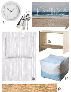 """Beachy Chic bedroom under $150 Raised Numbers Clock in White, $6.99 from Target KRÄMARE Wall Spotlight, $9.99 from IKEA Let's Run Away Print, 18"""" by 13"""", $25.00 from Society6 RAST Nightstand, $14.99 from IKEA Ombre Velvet Pouf, $24.98 from Target Basket-Weave Jute Rug, $19.99 from World Market Striped Duvet Cover Set, $24.95 from H"""