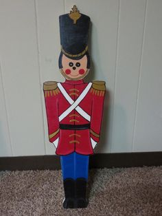 Christmas Outdoor Toy Soldier Wood Outdoor Yard Art, Christmas Solider Decor…