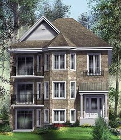 Handsome Tri-Plex - 80586PM | 1st Floor Master Suite, CAD Available, Canadian, Metric, Narrow Lot, PDF, Sloping Lot | Architectural Designs