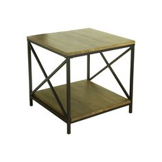 HomePop Rustic Contemporary End Table, Black