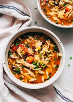Easy Mexican chicken noodle soup reicpe you can make with a few easy shortcuts. Loaded with beans and corn. A twist on the tradition chicken noodle recipe. Chicken Noodle Recipes, Chicken Noodle Soup, Cream Sauce Recipes, Soup Recipes, Shrimp Recipes, Yummy Recipes, Lasagna Recipes, Mango Recipes, Tandoori Masala