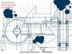 Blueprints. Engineering backgrounds. Mechanical engineering drawings. Cover. Technical Design. Draft. Ink. Blots #bubushonok #art #bubushonokart #design #vector #shutterstock #technical #engineering #drawing #blueprint  #technology #mechanism #draw #industry #construction #cad