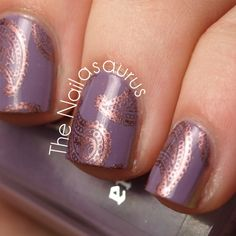 Bronze Stamping (the Nailasaurus, her nails are always done so perfectly, never sloppy, always creative too). I hope she doesn't some sparkly nails so I can pin them! Uk Nails, Nail Manicure, Love Nails, How To Do Nails, Pretty Nails, Hair And Nails, Manicure Ideas, Manicures, Nail Polish