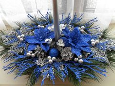 Blue & Silver Centerpiece for Christmas by ChristmasCraftsShop