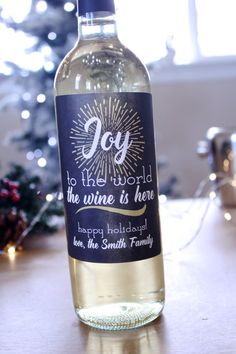 Christmas Wine Labels Joy to the World the Wine by StickEmUpLabels