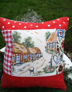 Pillowcase with reused embroidery. Redesign. Upcycled.