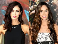 Megan Fox with shorter chocolate colored hair. I can't believe how much better she looks with the darker, collar bone length hair.
