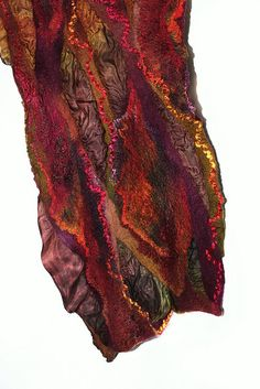 Nuno Felted Scarf  by FeltedPleasure. Marina Shkolnik | Super fine Australian merino wool, Mulberry silk, silk fabric, viscose yarn, tencel top.