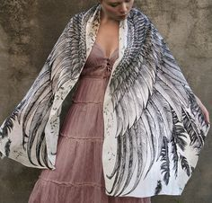 Hand painted Wings and feathers in Modal/rayon, by Shovava on etsy.  WOW. Only 56 USD for all that gorgeousness