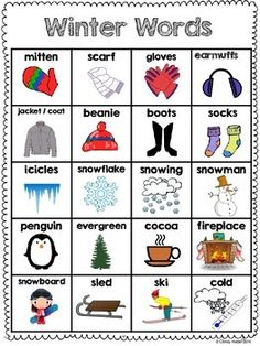 Winter word bank that students can use to help increase independence during… Preschool Classroom, Preschool Learning, Preschool Activities, Teaching Kids, Kindergarten, English Words, English Lessons, Learn English, Ingles Kids