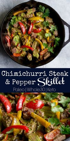 Chimichurri Steak and Pepper Skillet! A simple and delicious chimichurri sauce is poured over this pan seared steak and peppers. The entire dish comes together in less than 30 minutes, making it a breeze for a busy weeknight! Paleo and approved. Chimichurri, Paleo Whole 30, Whole 30 Recipes, Paleo Recipes Easy, Beef Recipes, Pepper Recipes, Skinny Recipes, Clean Eating Snacks, Healthy Eating