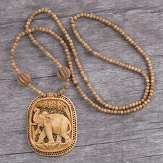 Handcrafted Kadam Wood 'Elephant Realm' Necklace (India) - Free Shipping On Orders Over $45 - Overstock.com - 17442813 - Mobile
