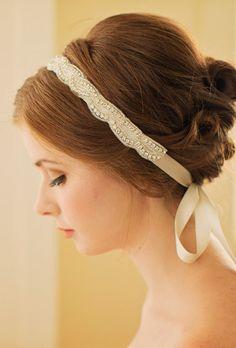 Rhinestone Bridal Headband / Crystal Wedding by DavieandChiyo Modern Hairstyles, Bride Hairstyles, Pretty Hairstyles, Hairdos, Wedding Headband, Bridal Hair, Crystal Headband, Wedding Hair Accessories, Hair Pins