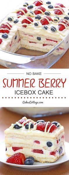 Bake Summer Berry Icebox Cake - Cakescottage Looking for a quick and easy Summer dessert recipe? Try out delicious No Bake Summer Berry Icebox Cake !Looking for a quick and easy Summer dessert recipe? Try out delicious No Bake Summer Berry Icebox Cake ! Easy Summer Desserts, Summer Dessert Recipes, Recipes Dinner, Easy Delicious Desserts, Easy Summer Dinners, Food For Summer, Easy No Bake Desserts, Easy Dinner Party Desserts, Holiday Desserts