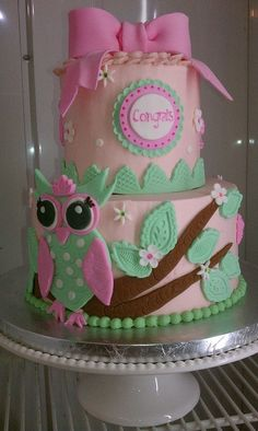 Owl Themed Baby Shower | Owl baby shower cake by Moon Wink Bakery, via Flickr | Owl Theme